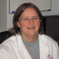 Kim Hunter in the lab
