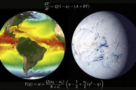 Image of Earth's temperature and an image of Snowball Earth